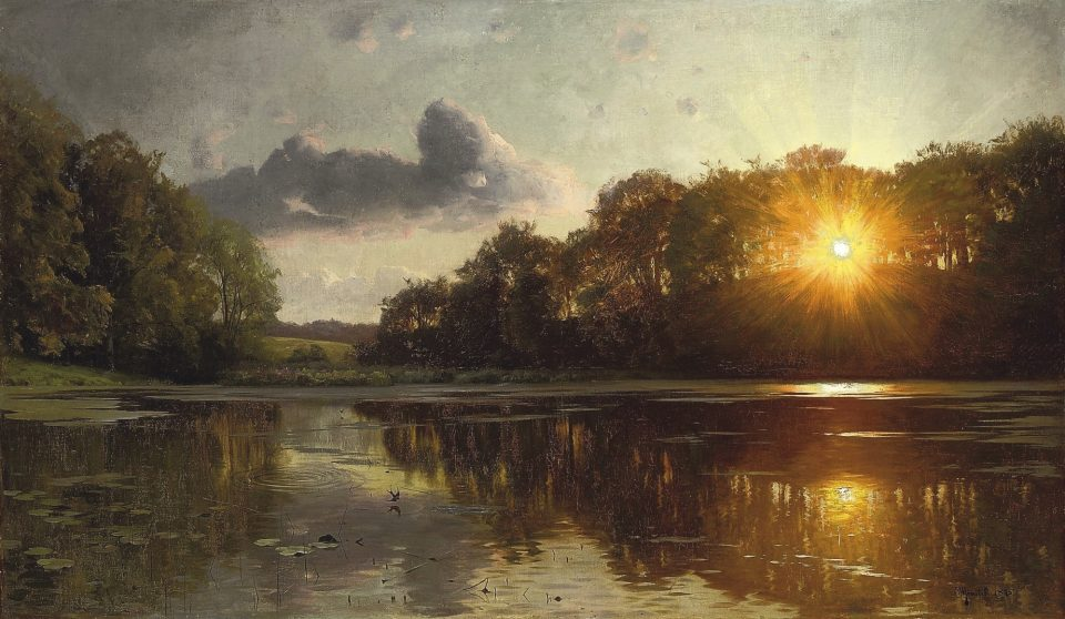5_Sunset-over-a-Forest-Lake-by-Peder_Mønsted