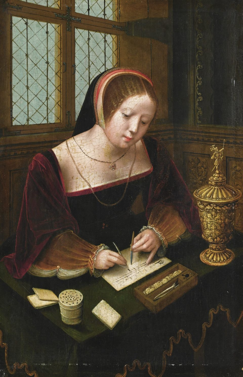 6_A_lady_writing_at_a_desk by the Master of Female Half Lengths