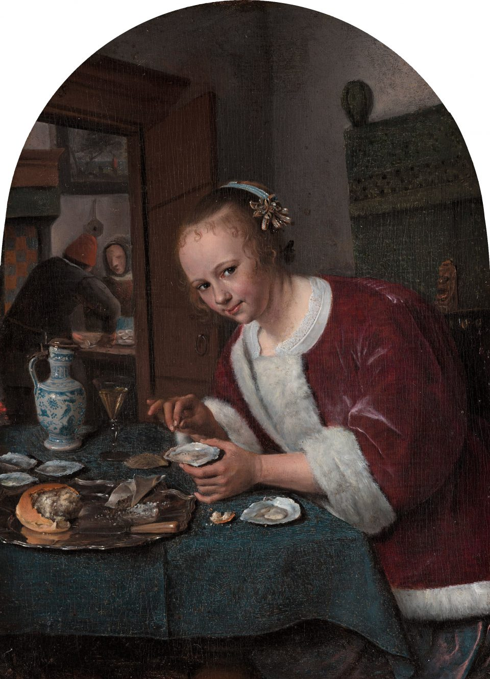 Girl eating oysters *oil on panel *20,5 x 14,5 cm signed t.l.: IS *circa 1658 - 1660