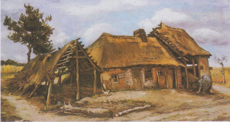 9_Farmhouse with a peasant woman in a blue dress by Van_Gogh